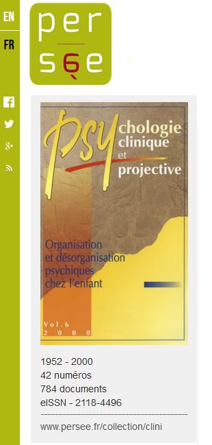 """La revue """"Psychologie clinique et projective"""" disponible sur le portail Persée"""