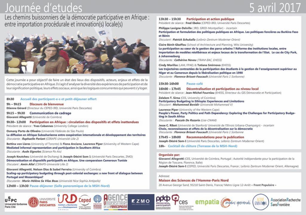 Journée d'Etudes - Les chemins buissonniers de la démocratie participative en Afrique @ Maison des Sciences de l'Homme-Paris Nord | Saint-Denis | Île-de-France | France