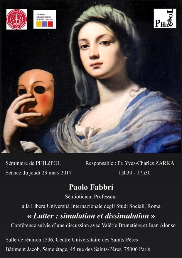 Séminaire de PHILéPOL « Lutter : simulation et dissimulation » par Paolo Fabbri @ Université Paris Descartes | Paris | Île-de-France | France