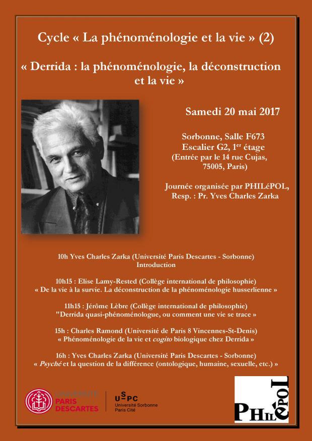 Journée Derrida : La phénoménologie, la déconstruction et la vie @ En Sorbonne | Paris | Île-de-France | France