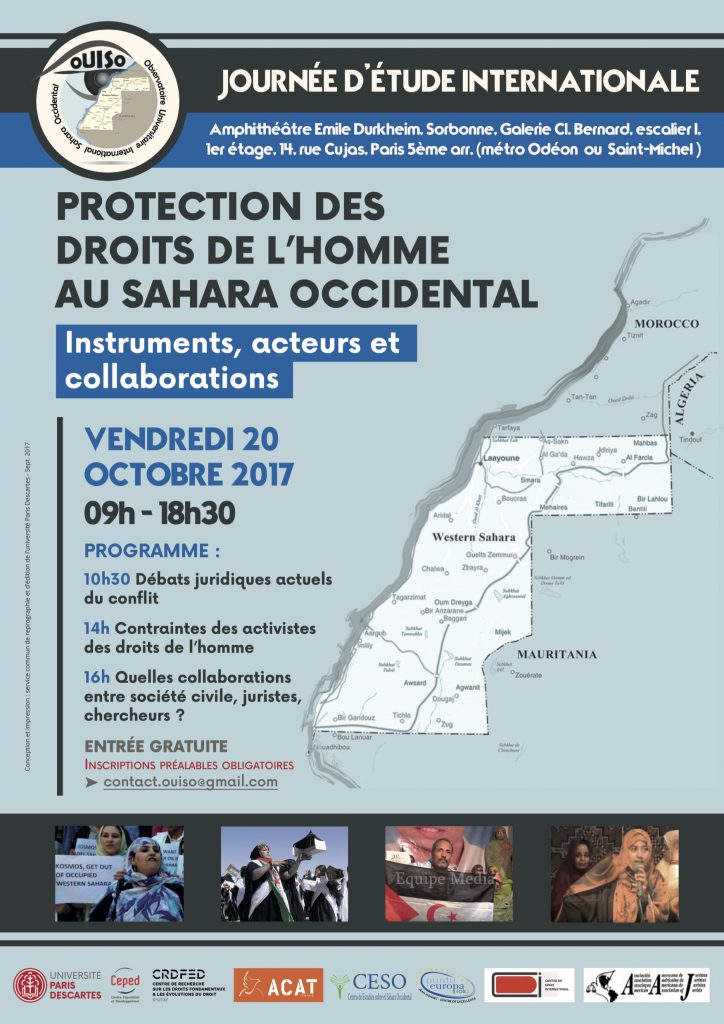 Journée d'étude internationale : Protection des droits de l'homme au Sahara Occidental : instruments, acteurs, collaborations