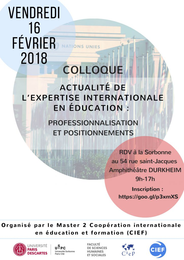 "Colloque ""Actualité de l'expertise internationale en éducation : Professionnalisation et positionnements"" @ En Sorbonne 