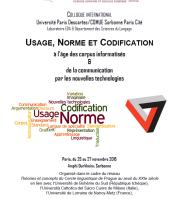 Colloque Usage, Norme et Codification