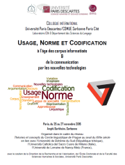 Colloque Usage, Norme et Codification