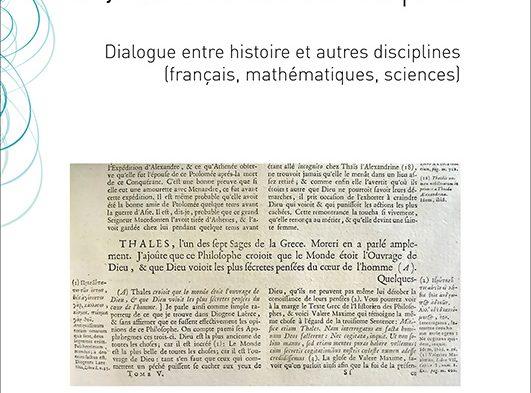 Les pratiques de récit pour penser les didactiques Dialogue entre histoire et autres disciplines (français, mathématiques, sciences