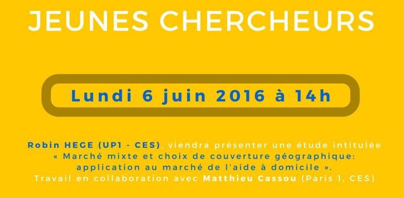 Séminaire « jeunes chercheurs » – Lundi 6 juin 2016 à 14h