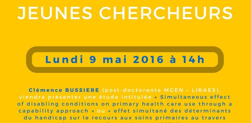 Séminaire « jeunes chercheurs » – Lundi 9 mai 2016 à 14h