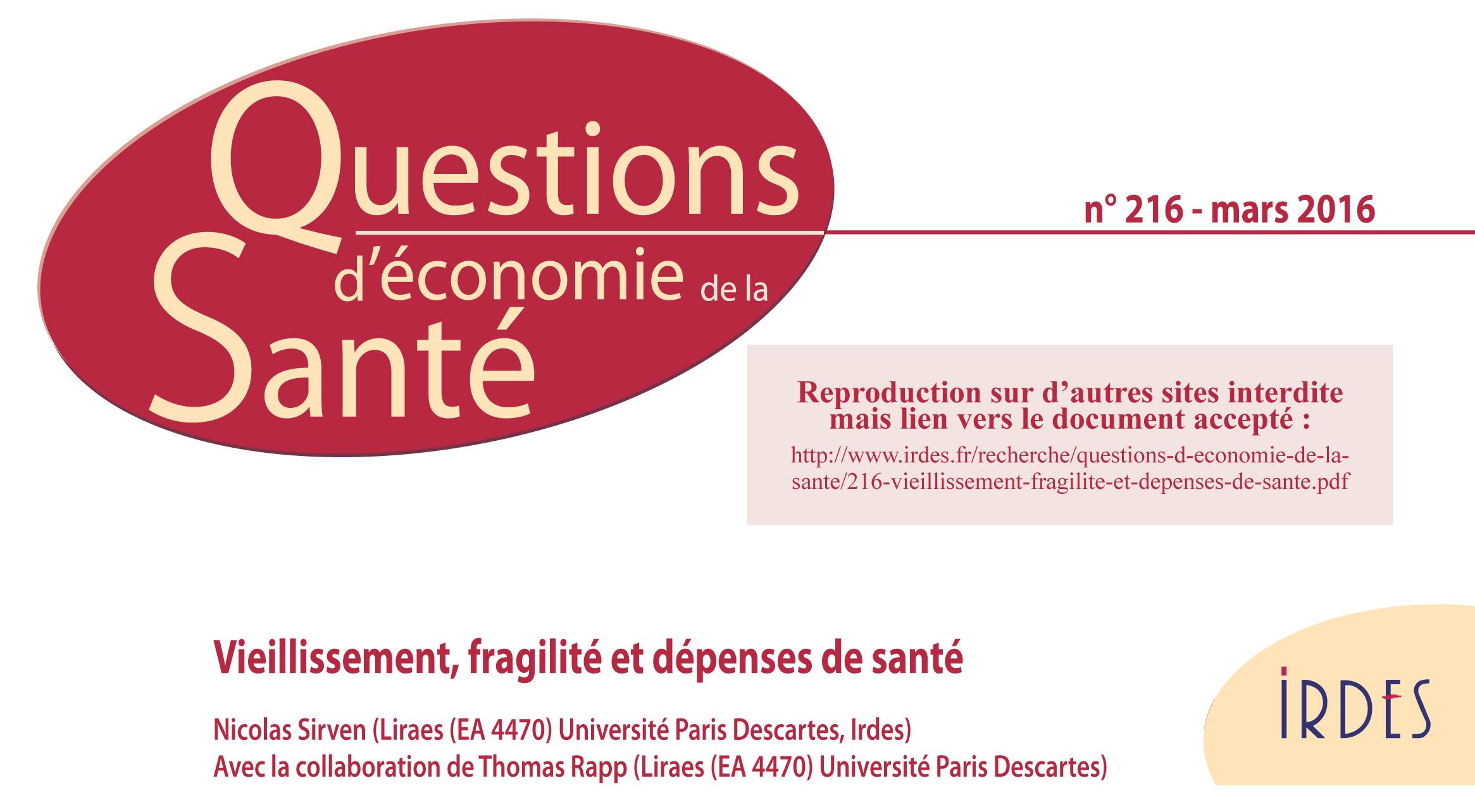Questions d'économie de la santé N° 216