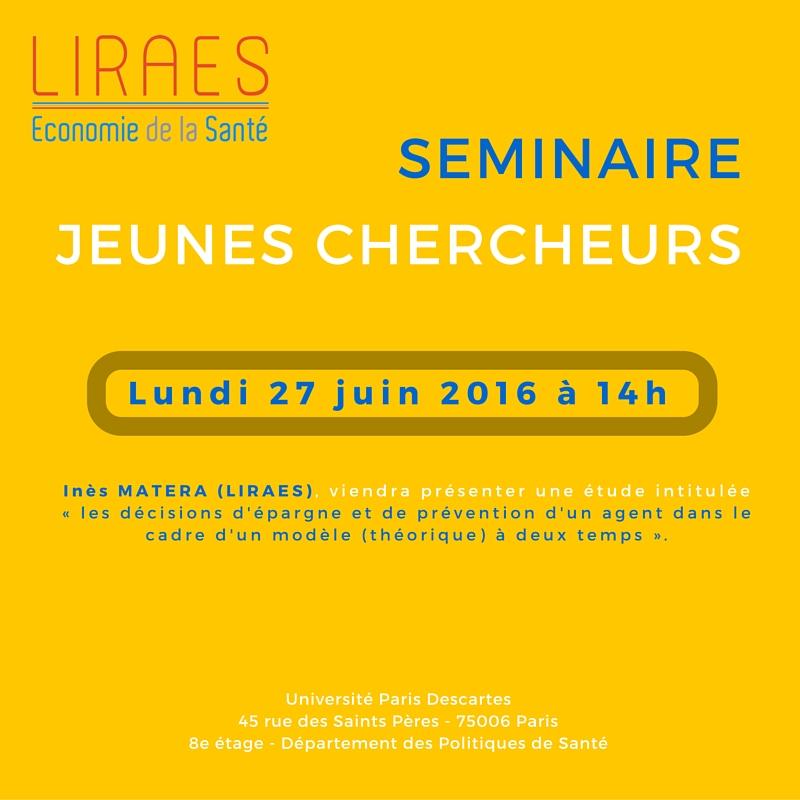 SEMINAIRE Jeunes chercheurs 27-06-2016