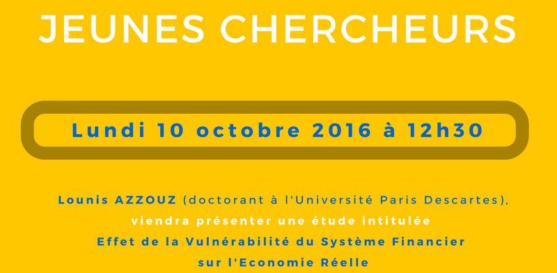 Séminaire « jeunes chercheurs » – Lundi 10 octobre 2016 à 12h30