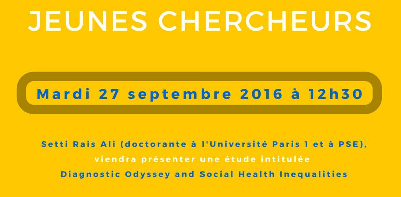 Séminaire « jeunes chercheurs » – Mardi 27 septembre 2016 à 12h30