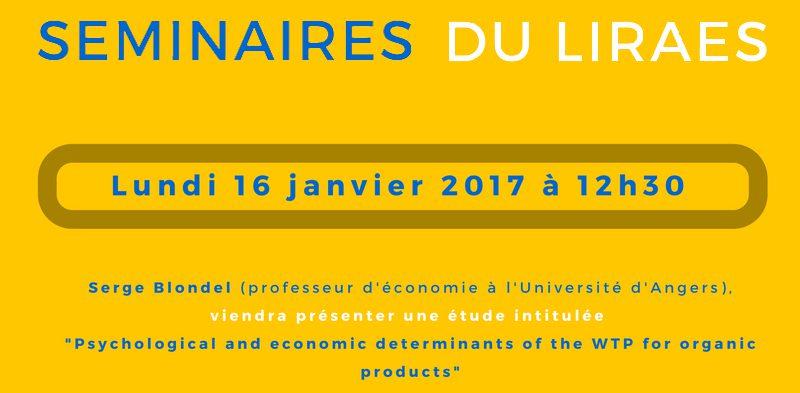 Les séminaires du LIRAES – Lundi 16 janvier 2017 à 12h00