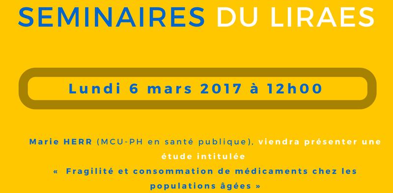 Les séminaires du LIRAES – Lundi 6 mars 2017 à 12h00