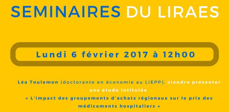 Les séminaires du LIRAES – Lundi 6 février 2017 à 12h00