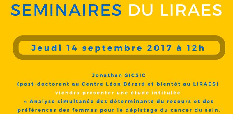 Les séminaires du LIRAES – Jeudi 14 septembre 2017 à 12h