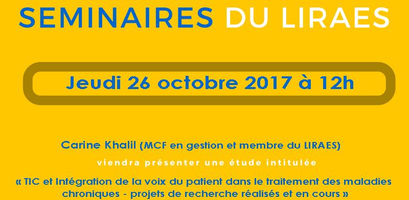 Les séminaires du LIRAES – Jeudi 26 octobre 2017 à 12h