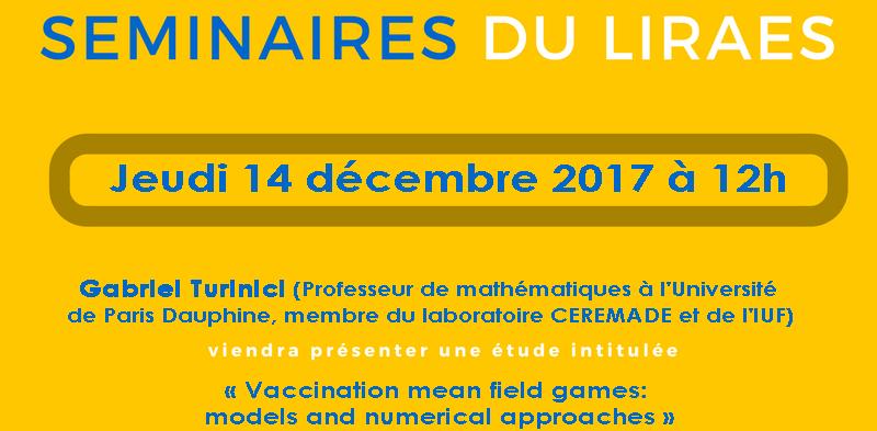 Les séminaires du LIRAES – Jeudi 14 décembre 2017 à 12h00