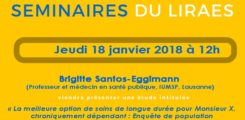 Les séminaires du LIRAES – Jeudi 18 janvier 2018 à 12h00