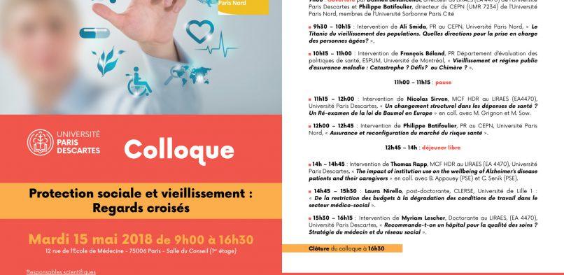 Colloque «Protection sociale et vieillissement» – Mardi 15 mai 2018