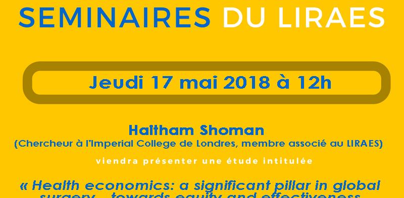Les séminaires du LIRAES – Jeudi 17 mai 2018 à 12h00