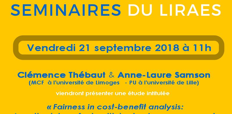 Les séminaires du LIRAES – Vendredi 21 septembre 2018 à 11h