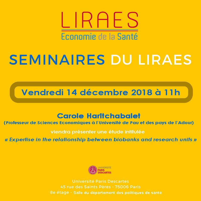 Les séminaires du LIRAES – Vendredi 14 décembre 2018 à 11h