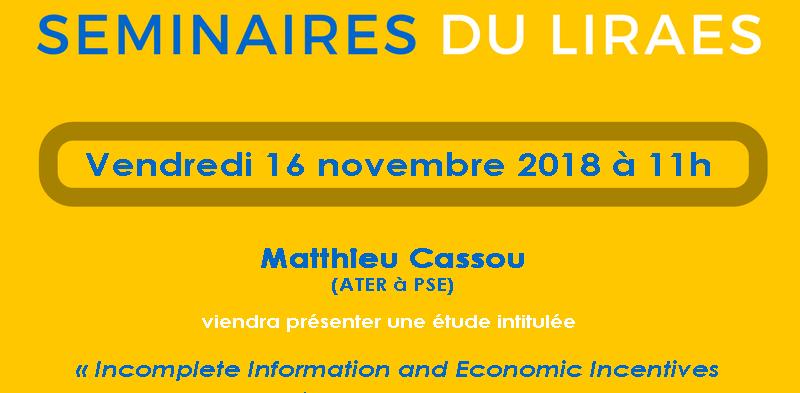 Les séminaires du LIRAES – Vendredi 16 novembre 2018 à 11h