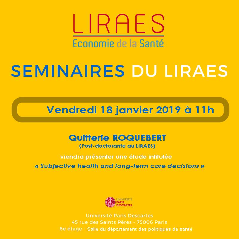 Les séminaires du LIRAES – Vendredi 18 janvier 2019 à 11h