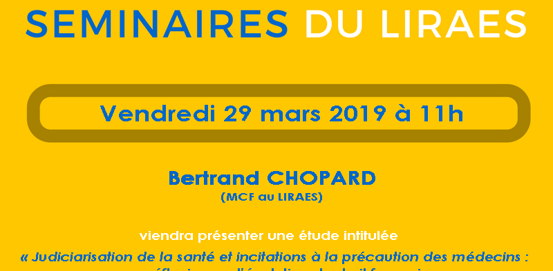 Les séminaires du LIRAES – Vendredi 29 mars 2019 à 11h