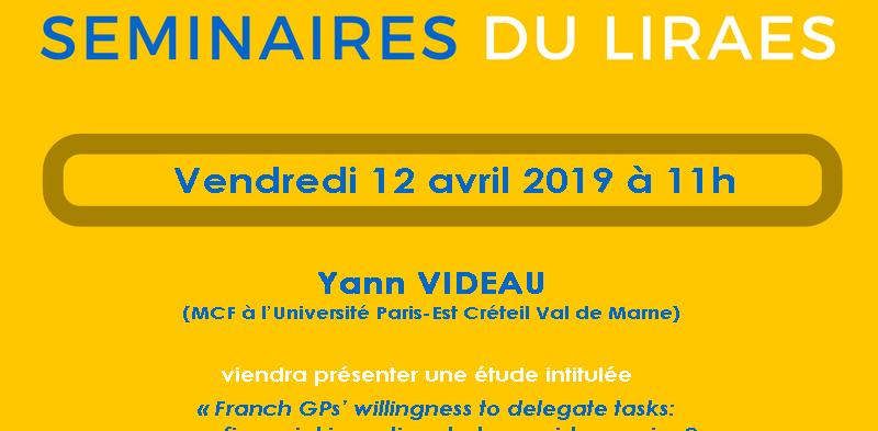 Les séminaires du LIRAES – Vendredi 12 avril 2019 à 11h