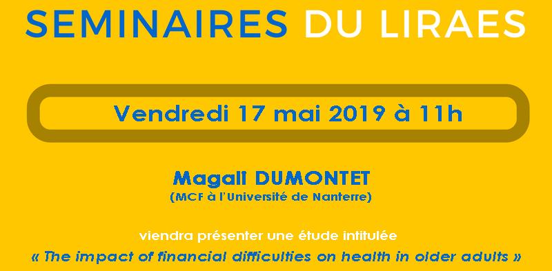Les séminaires du LIRAES – Vendredi 17 mai 2019 à 11h