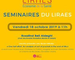 Les séminaires du LIRAES – Vendredi 18 octobre 2019 à 11h