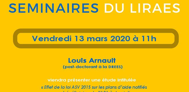 Les séminaires du LIRAES – Vendredi 13 mars 2020 à 11h