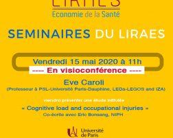 Les séminaires du LIRAES – Vendredi 15 mai 2020 à 11h en visioconférence