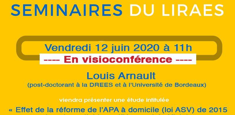 Les séminaires du LIRAES – Vendredi 12 juin 2020 à 11h en visioconférence