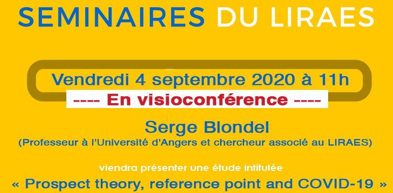 Les séminaires du LIRAES – Vendredi 4 septembre 2020 à 11h en visioconférence