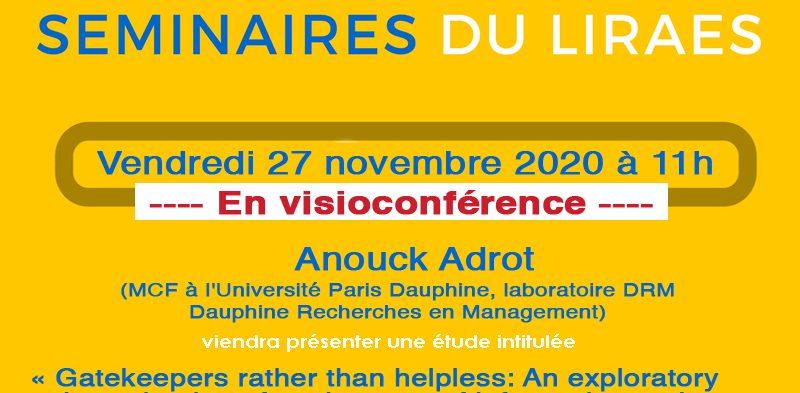 Les séminaires du LIRAES – Vendredi 27 novembre 2020 à 11h en visio