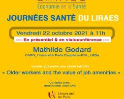 Les séminaires du LIRAES – Vendredi 22 octobre 2021 à 11h en présentiel et en visio