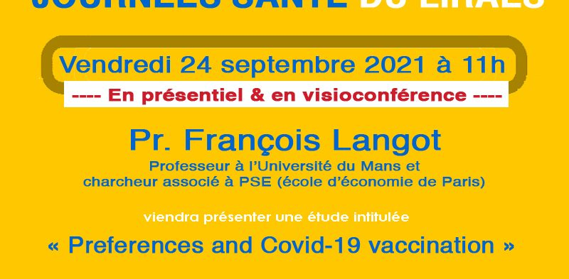 Les séminaires du LIRAES – Vendredi 24 septembre 2021 à 11h en présentiel et en visio