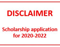 Scholarship application 2020-2022